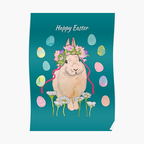 Happy Easter Card and Poster, Cute Rabbit Poster