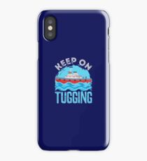 Tugboat Gifts Keep On Tugging Distressed Design iPhone Case