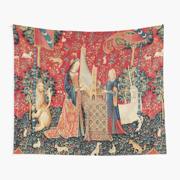UNICORN AND LADY PLAYING ORGAN WITH ANIMALS , Hearing Tapestry