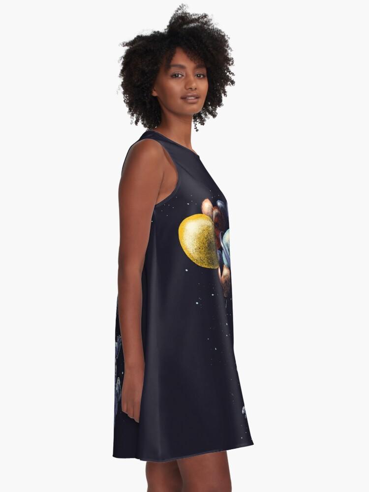 Alternative Ansicht von Raumfahrt A-Linien Kleid