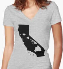 California and Hawai'i Roots by Hawaii Nei All Day Women's Fitted V-Neck T-Shirt
