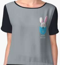 Happy Easter Pocket Bunny Cute Rabbit Chiffon Top