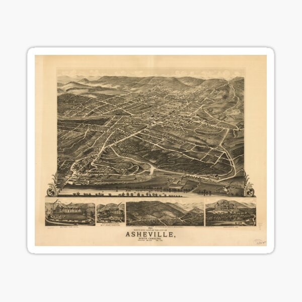 Vintage Pictorial Map of Asheville NC (1891) Sticker