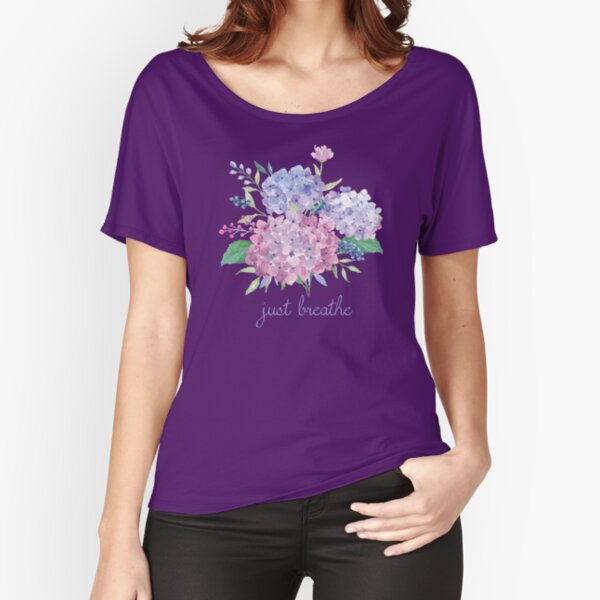 Just Breathe Hydrangeas Relaxed Fit T-Shirt