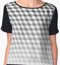 Space Invader Dogtooth Pattern Black and White Fade Chiffon Top