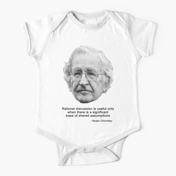 Noam Chomsky & rational discussion (black & white) Short Sleeve Baby One-Piece