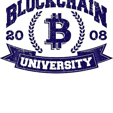 Blockchain University Vintage Distressed Bitcoin Shirt by trndsttrz
