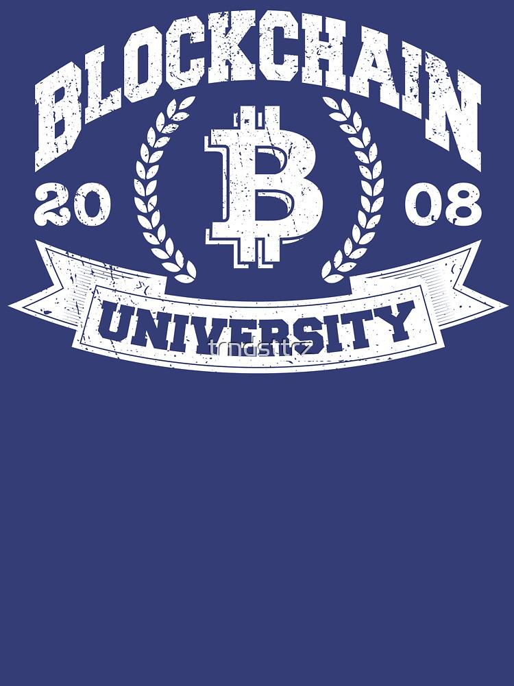 Blockchain University Vintage Distressed Bitcoin Shirt by trndsttrz