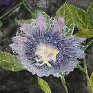 purple passion flower painting by derekmccrea