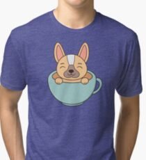 Cute and Kawaii Adorable French Bull Dog Tri-blend T-Shirt