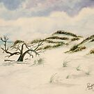 Beach sand dunes watercolor painting by derekmccrea