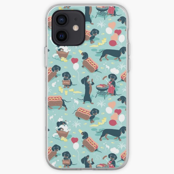Hot dogs and lemonade // aqua green background navy and brown dachshunds  iPhone Soft Case