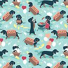 Hot dogs and lemonade // aqua green background navy and brown dachshunds  by SelmaCardoso