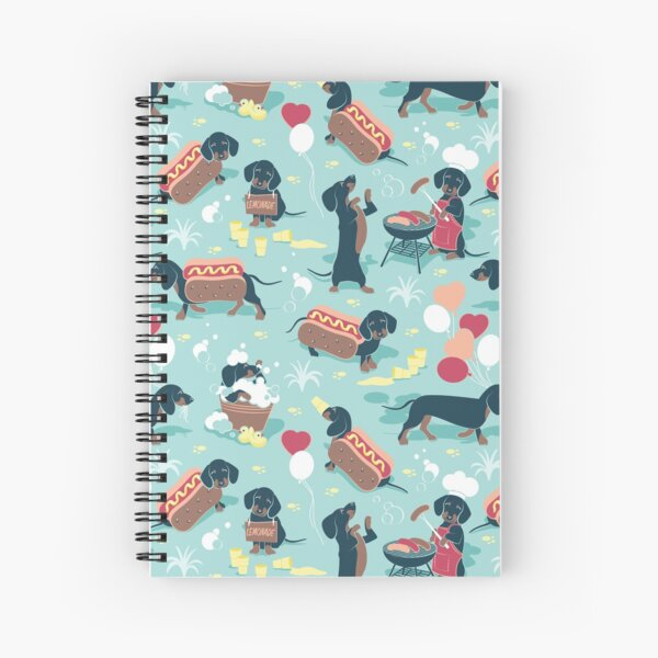 Hot dogs and lemonade // aqua green background navy and brown dachshunds  Spiral Notebook
