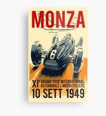 MONZA GROSSER PRIX; Vintage Auto Racing Print Metalldruck