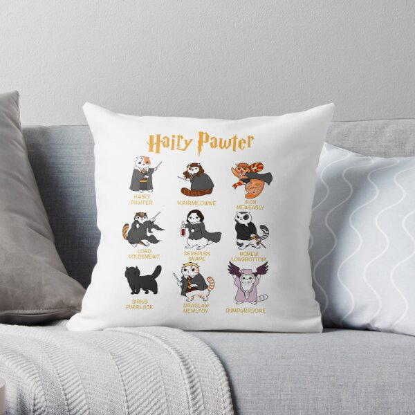 Vintage Funny Hairy Pawter For Cat Lovers  Throw Pillow