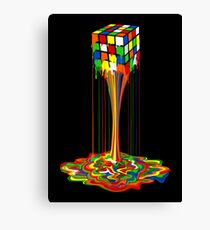 Rainbow melted rubiks cube Abstract Canvas Print