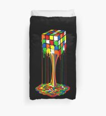 Rainbow melted rubiks cube Abstract Duvet Cover