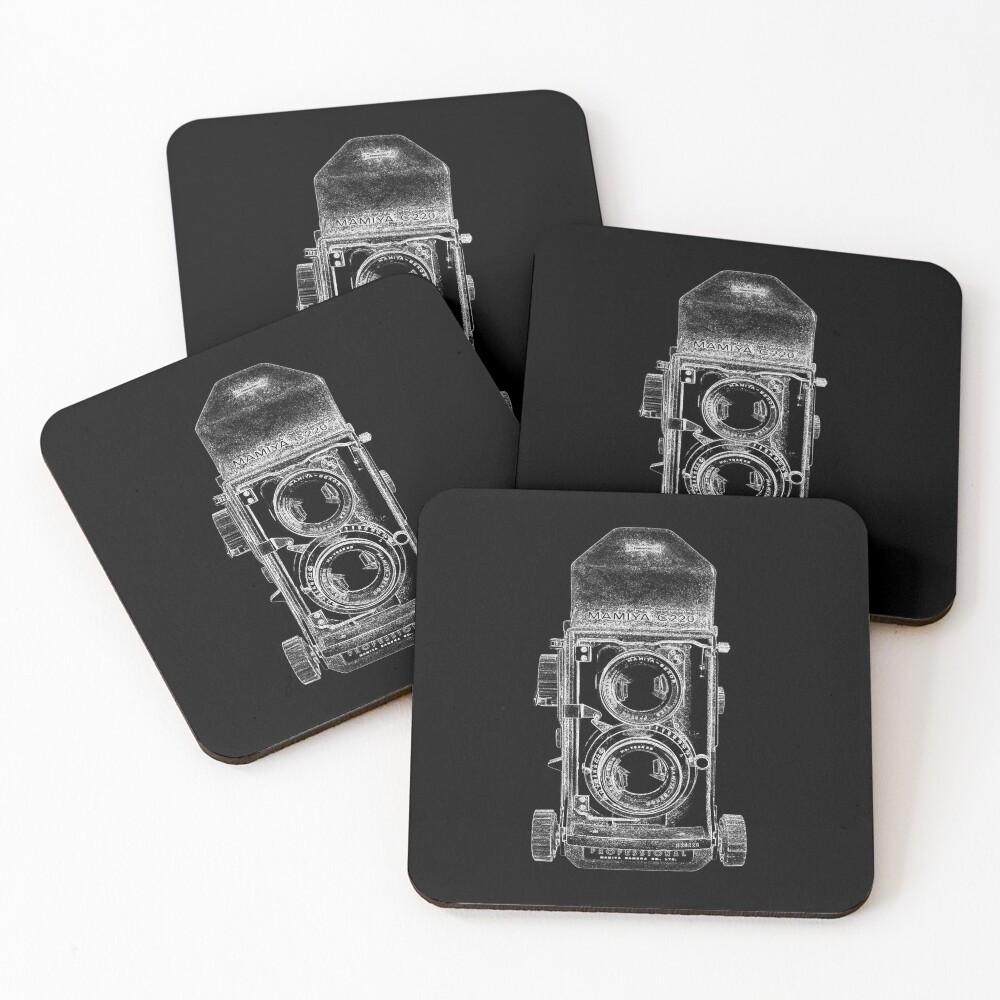 Mamiya C220 with White Outline Coasters (Set of 4)