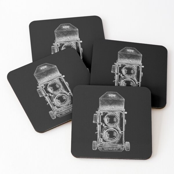 Mamiya C220 with White Outline Coasters (Set of 4)