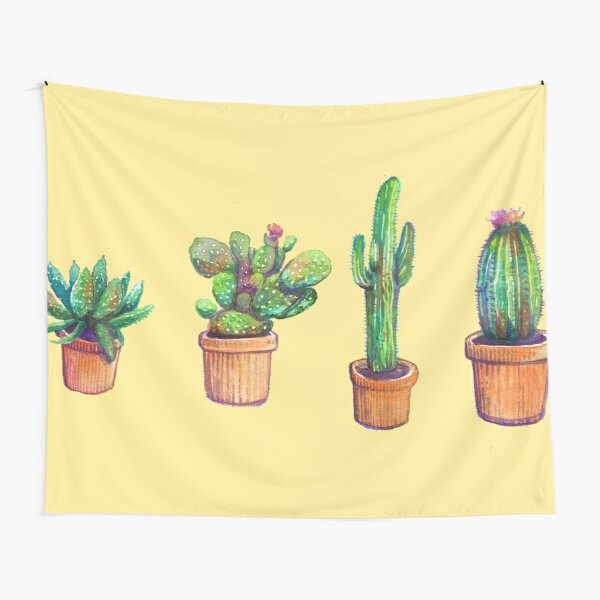 Cactus on Yellow Tapestry