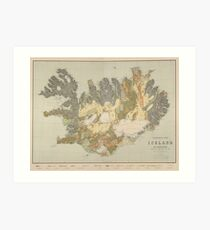 Vintage Geological Map of Iceland (1901) Art Print