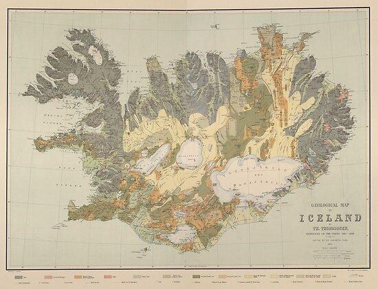 Vintage Geologische Karte von Island (1901) von BravuraMedia