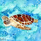 sea turtle square art painting by derekmccrea