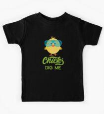 Chicks Dig Me Happy Easter 80s Retro Sunglasses Kids Tee