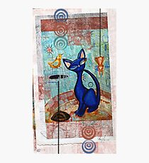 Mid Century Modern Cat in Black and Blue digital version Photographic Print