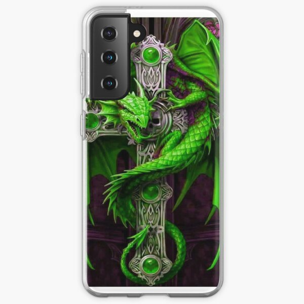 Awesome Neon Green Dragon With Celtic Cross Samsung Galaxy Soft Case