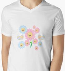 Springy Happy Flowers V-Neck T-Shirt