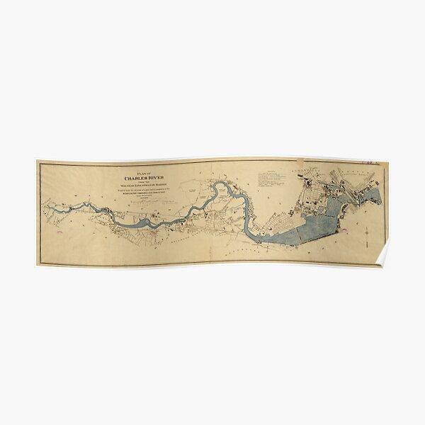 Mapa vintage del río Charles (1894) Póster