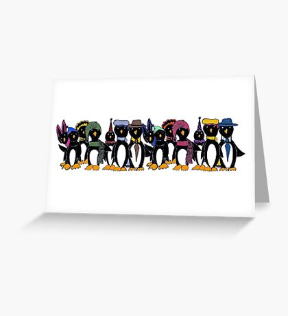 Penguin hat parade Greeting Card