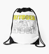 Tattooed Cat Mom For Cat Mama With Tattoos Drawstring Bag