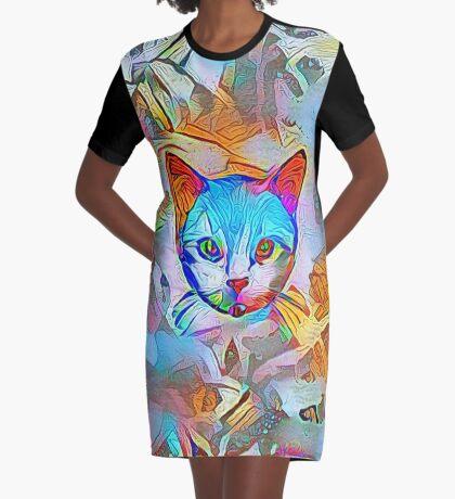 White cat Graphic T-Shirt Dress