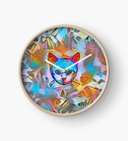 White cat Clock