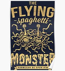 The Flying Spaghetti Monster (dark) Poster