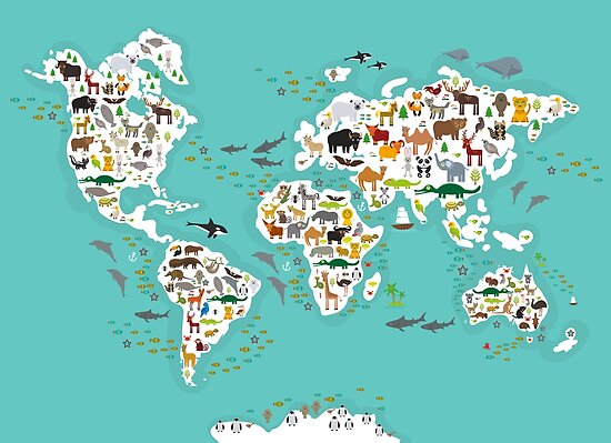 Cartoon animal world map for children and kids animals from all cartoon animal world map for children and kids animals from all over the world gumiabroncs Image collections