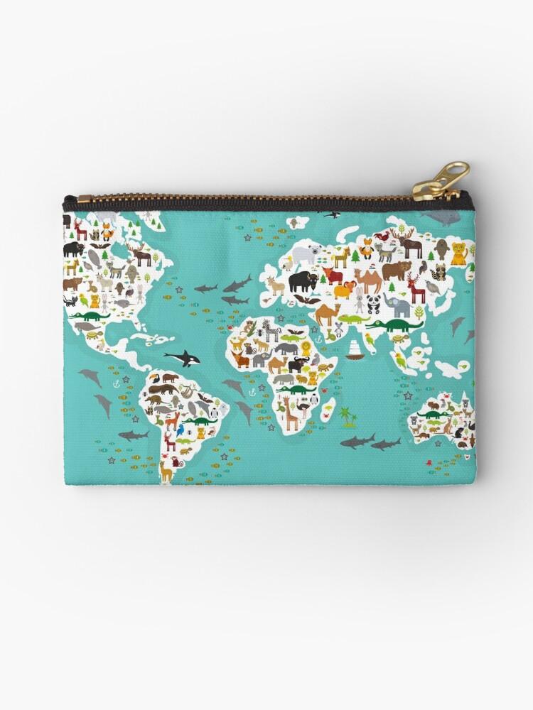 Bolsos De Mano Mapa Del Mundo Animal De Dibujos Animados Para Niños