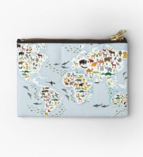 Cartoon animal world map for children and kids, Animals from all over the world Studio Pouch