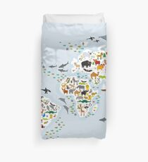 Cartoon animal world map for children and kids, Animals from all over the world Duvet Cover