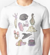 Witchy Aesthetic Spread - Crystals, Candles, Witch Hat Unisex T-Shirt