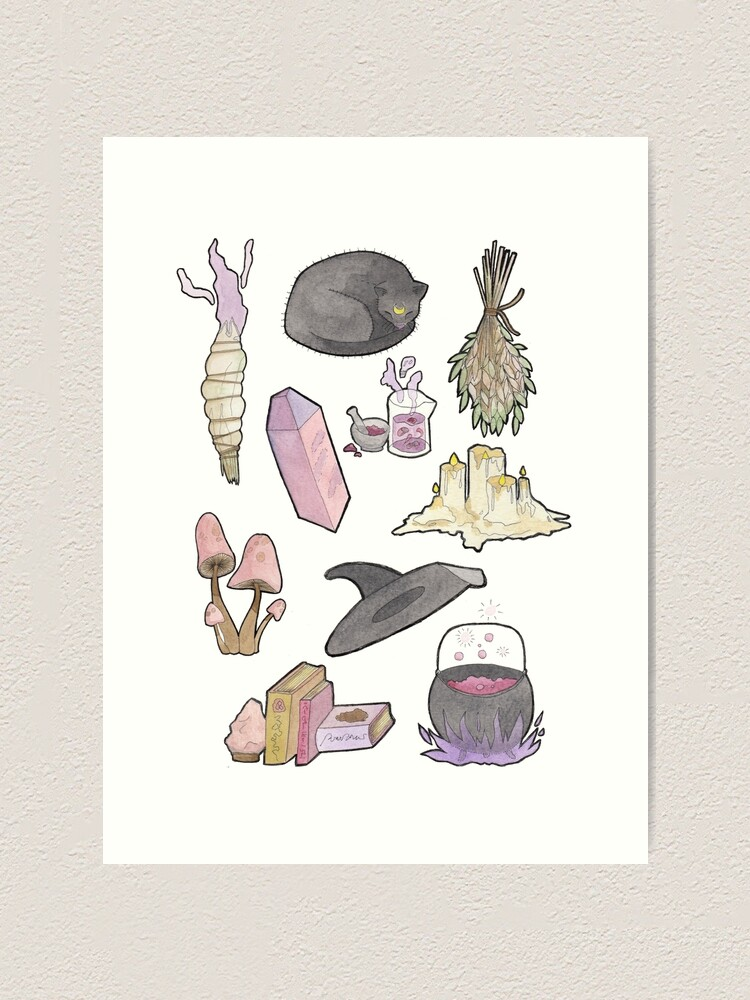 Witchy Aesthetic Spread Crystals Candles Witch Hat Art Print By Alisonsherlock Redbubble