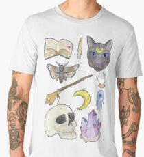 Witchy Aesthetic Spread - Skull, Cat, Crystal, Moon Men's Premium T-Shirt