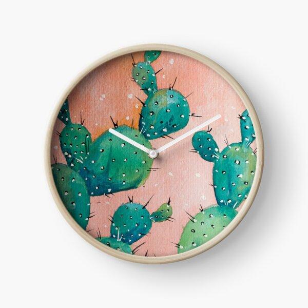 Desert cactus watercolor painting Clock