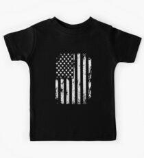 Distressed American Flag - 4th July - Memorial Day - Black Shirt  Kids Tee