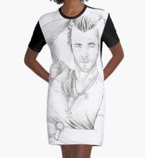 Chris Hemsworth Sketch Graphic T-Shirt Dress