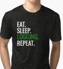 Logging Lumberjack Funny Logger Woodland Funny T-Shirt Tri-blend T-Shirt