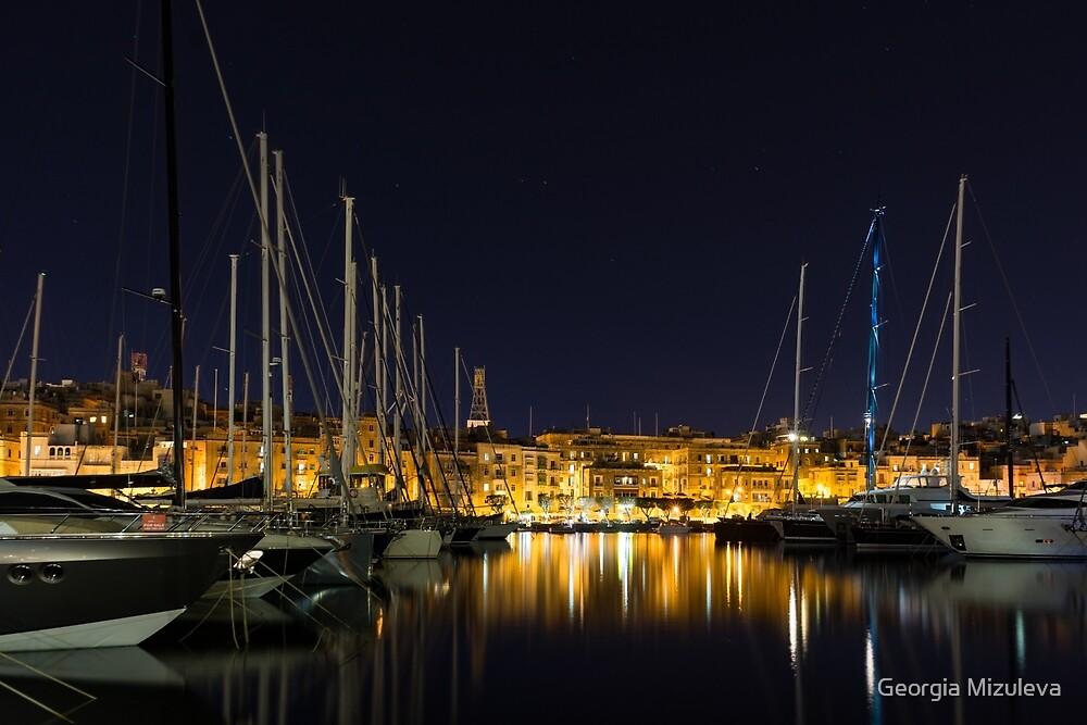 Blue Mast - Senglea Malta Magical Night  by Georgia Mizuleva